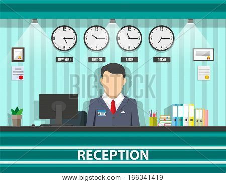 interior of reception with receptionist, computer, pen, safety boxes, clocks, document paper. hotel hostel lobby, tourism concept, vector illustration in flat design