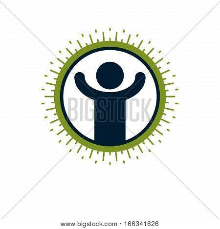Happy Man Vector Icon Isolated On White.