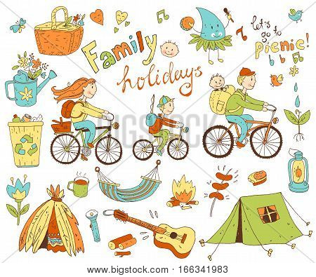 Vector set of cute doodle family and holidays. Equipment for camping and eco-tourism, bicycles, tent, guitar, people, woman,  man and two children. Cartoon style.
