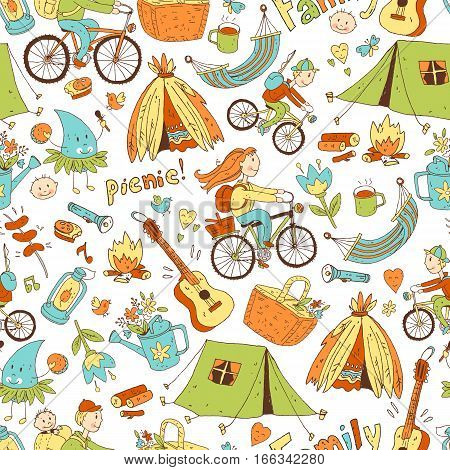 Vector seamless pattern with cute doodle family. Equipment for camping and eco-tourism, bicycles, tent, guitar, people, woman,  man and two children. Cartoon style. White background.