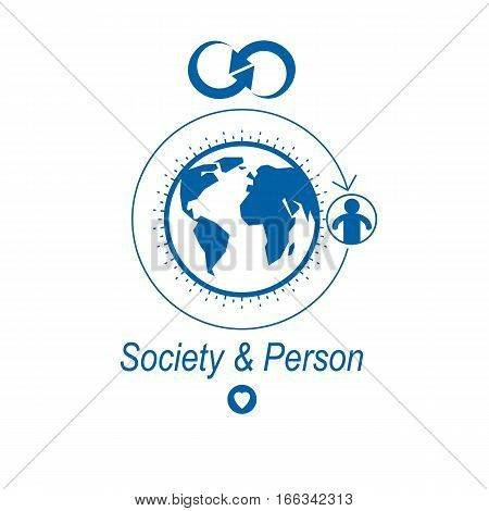 World And Person Creative Logo, Unique Vector Symbol Created With Different Icons. System And Social