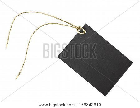 Small black paper etiquette on a white background.