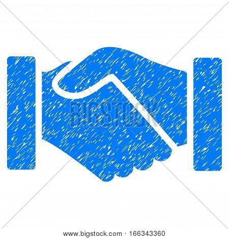 Acquisition Handshake grainy textured icon for overlay watermark stamps. Flat symbol with dirty texture. Dotted vector blue ink rubber seal stamp with grunge design on a white background.