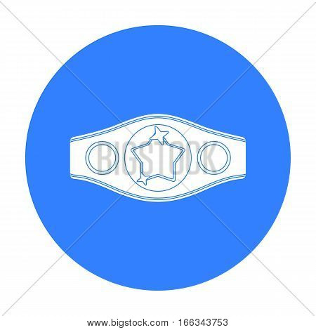 Boxing championship belt icon in blue style isolated on white background. Boxing symbol vector illustration.