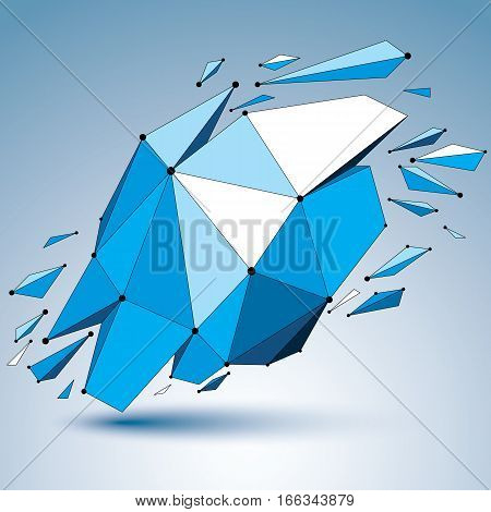 3D Vector Low Poly Object With Connected Black And White Lines And Dots, Blue Geometric Wireframe Sh
