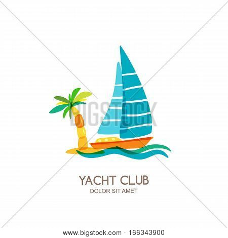 Vector Yacht Club Logo Design Template. Sailing Boat And Palm On Seaside.