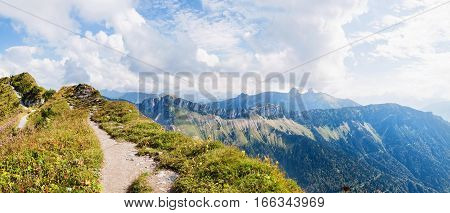 Panoramic view of Alps from the Rochers de Naye Switzerland