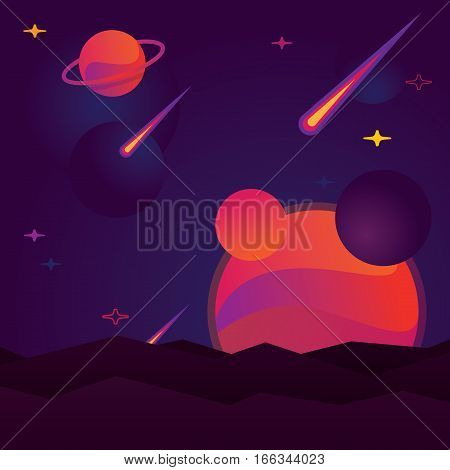 vector illustration bright planet with stars, comet and meteorites.