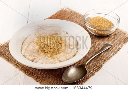 warm and healthy oat bran with brown sugar