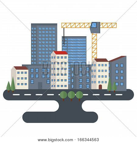 Set of urban landscape and city life. Building icon. Urban landscape with skyscrapers. Flat style vector illustration.