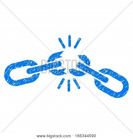 Chain Damage grainy textured icon for overlay watermark stamps. Flat symbol with dirty texture. Dotted vector blue ink rubber seal stamp with grunge design on a white background.
