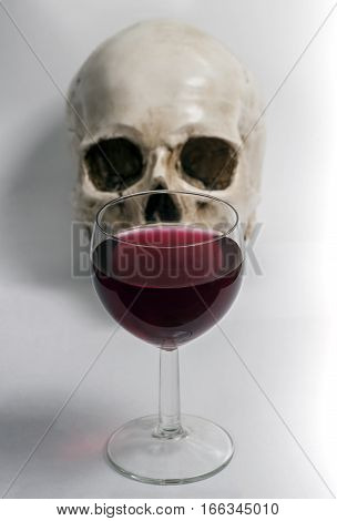 Human skull and a glass of vine.