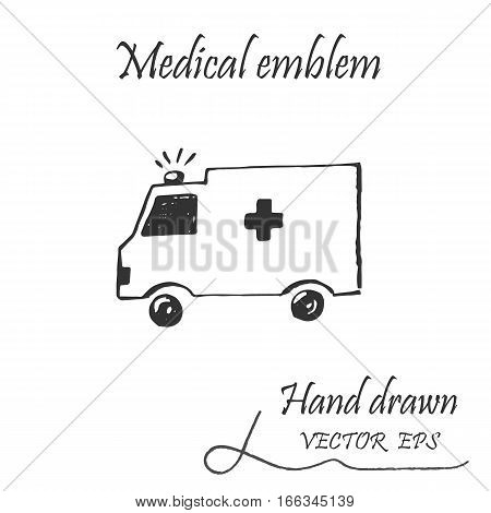 Ambulance car icon. This emblem is drawn with a pencil.