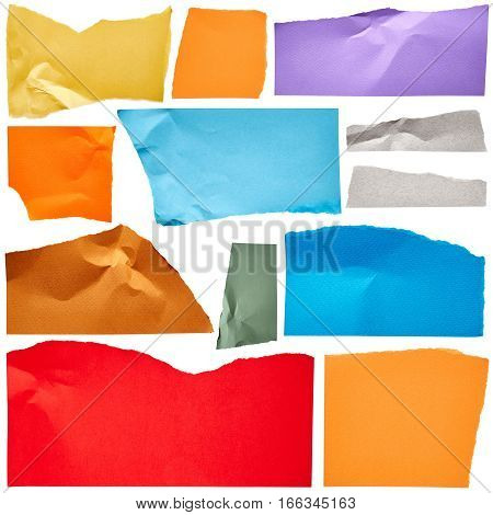 Coloured torn cardboard isolated on white background