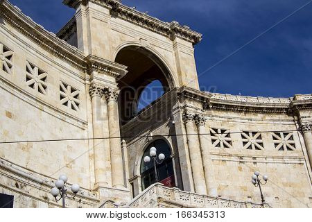 Cagliari: exterior architecture of the Bastion of Saint Remy - Sardinia