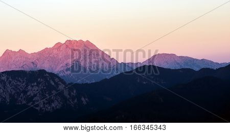Mountain with a reddish tone late afternoon.