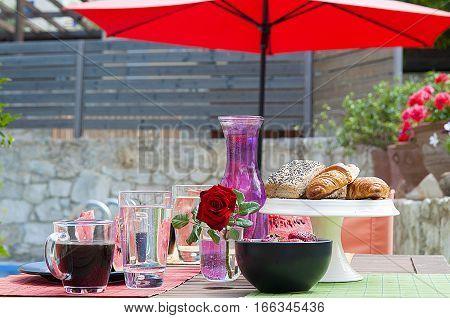 healthy breakfast at pool side, coffee, croissant