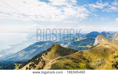 Panoramic view of Alps and Montreux from the Rochers de Naye Switzerland