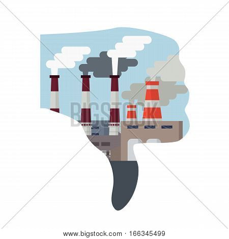 Pollution of the environment concept. Air pollution. Thumb down hand dislike with smog polluted urban landscape.