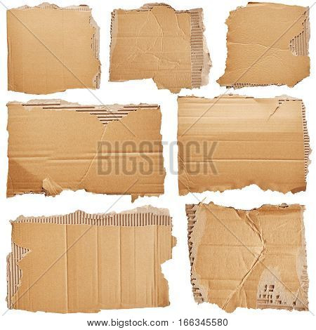 Set of pieces of cardboard isolated on white background