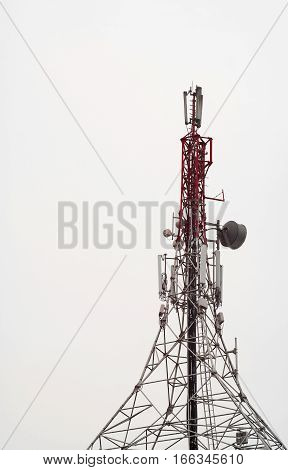 Tall telecommunication antenna tower sending radio signals.
