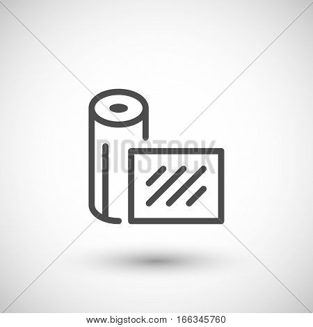 Insulation material line icon isolated on grey. Vector illustration