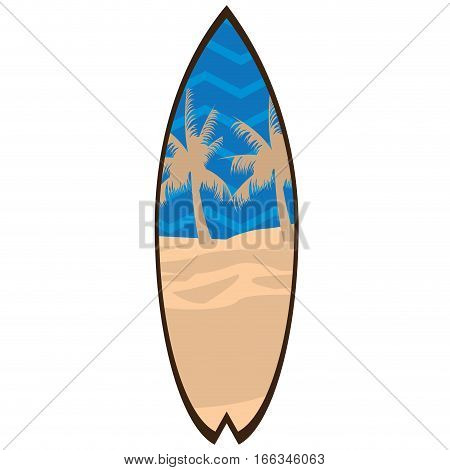 Isolated Surfboard on a white background, Vector illustration