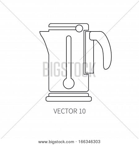 Line flat vector kitchenware icons - electric kettle. Cutlery tools. Cartoon style. Illustration, element for your design. Equipment for food preparation. Kitchen. Household. Cooking. Cook.