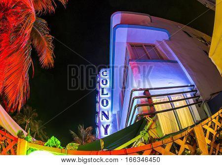 Ocean Drive Buildings In South Beach At Ocean Drive By Night