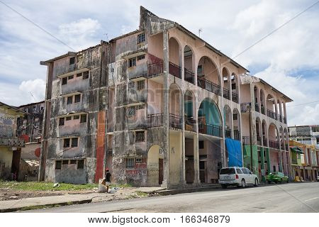 June 9 2016 Colon Panama: many of the buildings in the port town are in advanced decay