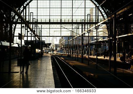 FRANKFURT, GERMANY - JANUARY 05: The rail exit of Frankfurt Central Station with platforms and tracks in the backlight on January 05, 2017 in Frankfurt.