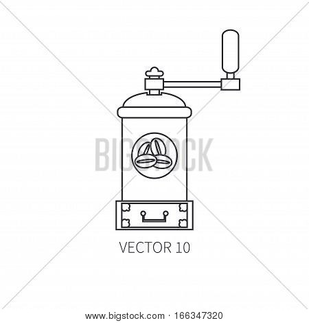 Line flat vector kitchenware icons - coffee mill. Cutlery tools. Cartoon style. Illustration, element for your design. Equipment for food preparation. Kitchen. Household. Cooking. Cook. Grinder.