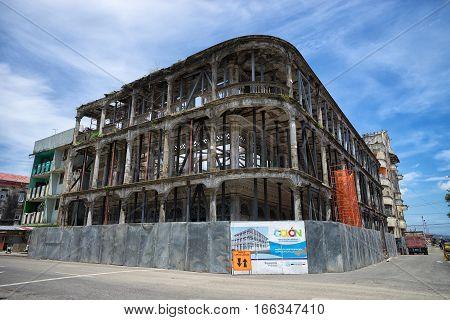 June 9 2016 Colon Panama: a colonial building in ruins designated for renovation