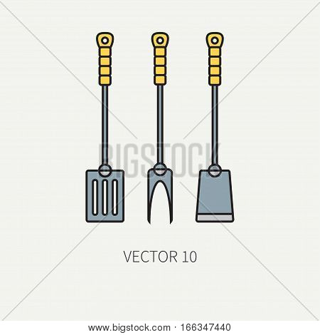 Line colorvector kitchenware icons fork, furcula, scapula. Cutlery tools. Cartoon style. Illustration, element for your design. Equipment for food preparation. Kitchen. Household. Cooking. Cook.