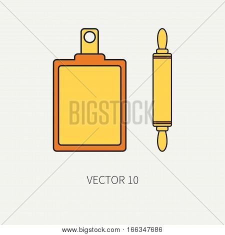 Line color vector kitchenware icons plunger, cutting board. Cutlery tools. Cartoon style. Illustration, element for your design. Equipment for food preparation. Kitchen. Household. Cooking. Cook.