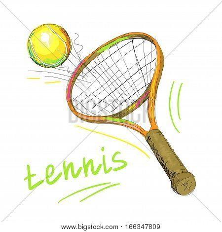 Vector illustration of isolated tennis racket and ball, racquet closeup on white background.
