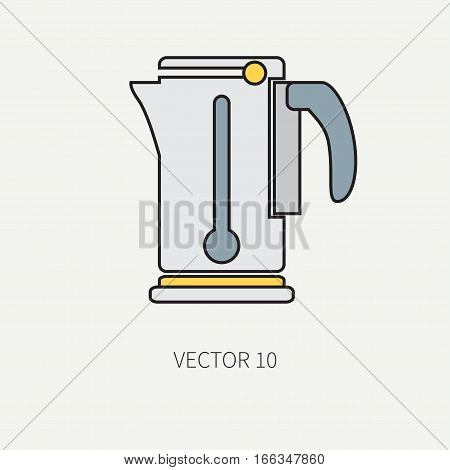 Line color vector kitchenware icons - electric kettle. Cutlery tools. Cartoon style. Illustration, element for your design. Equipment for food preparation. Kitchen. Household. Cooking. Cook.