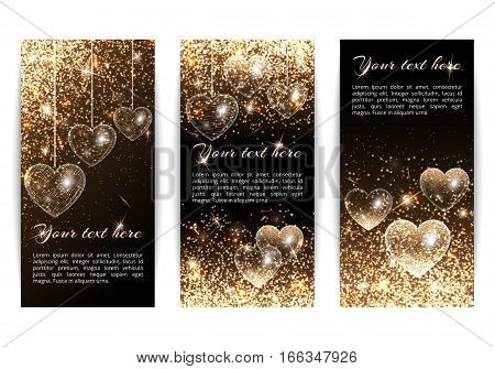 A set of vertical banners in a romantic style with hearts and light effect. Gold glitter on a black background