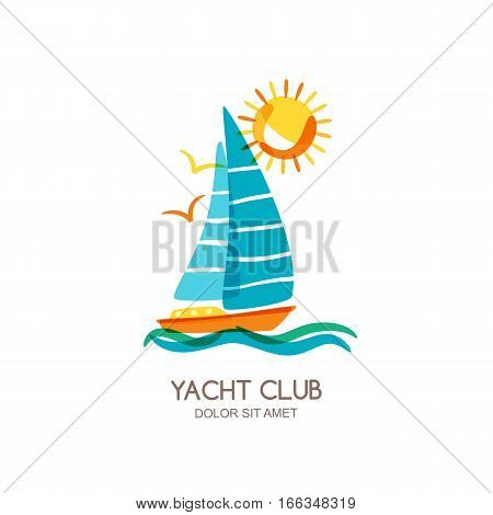 Vector Yacht Club Logo Design Template. Sailing Boat In The Sea And Sun. Summer Vacation Isolated Do