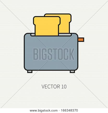 Line flat color vector kitchenware icons - toaster. Cutlery tools. Cartoon style. Illustration, element for your design. Equipment for food preparation. Kitchen. Household. Cooking. Cook. Toast.
