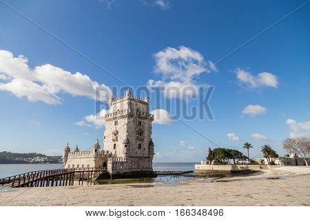 Lisbon, Portugal - february 18, 2014: The Tower of St. Vincent, also known as Belem Tower, on the Tagus River. It is a UNESCO World Heritage Site dating from the early 16th Century