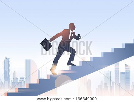 Silhouette Businessman Climb Stairs Up Business Man Growth Vector Illustration