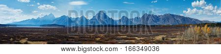 Autumn landscape in Yellowstone Grand Teton Wyoming USA