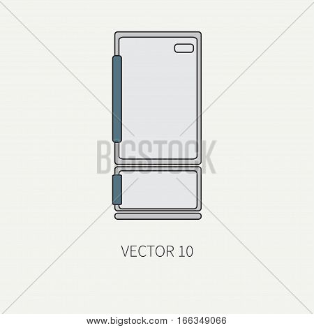 Line color vector kitchenware icons - refrigerator. Cutlery tools. Cartoon style. Illustration, element for your design. Equipment for food preparation. Kitchen. Household. Cooking. Cook. Fridge.