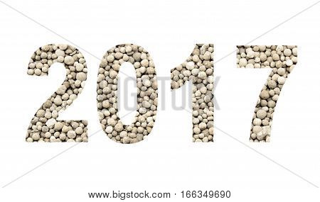 2017 from the mineral fertilizers isolated on the white background