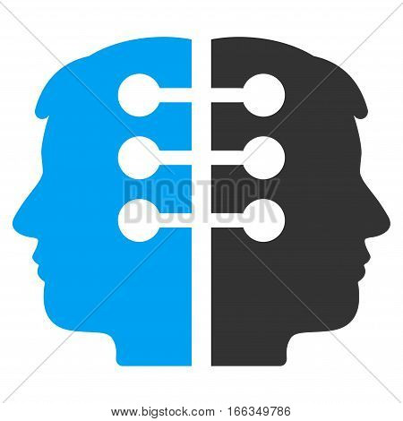 Dual Head Interface vector icon. Flat bicolor blue and gray symbol. Pictogram is isolated on a white background. Designed for web and software interfaces.