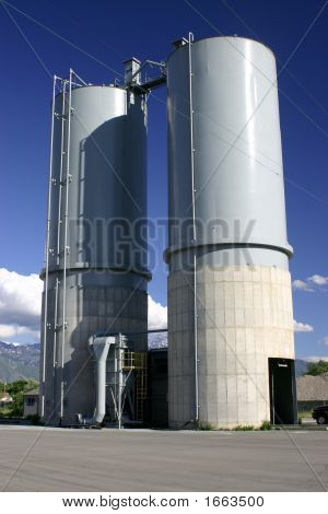 Storage Tanks And Mountain