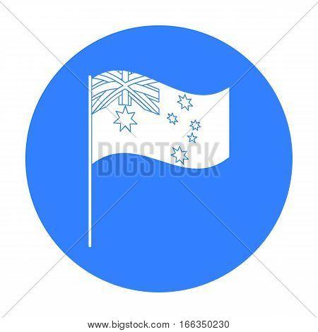 Australian flag icon in blue design isolated on white background. Australia symbol stock vector illustration.