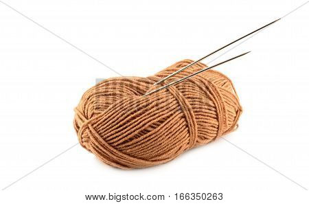 Brown Yarn Clew With Spoke Isolated On White