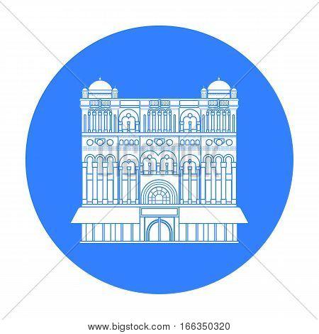 Queen Victoria Building icon in blue design isolated on white background. Australia symbol stock vector illustration.